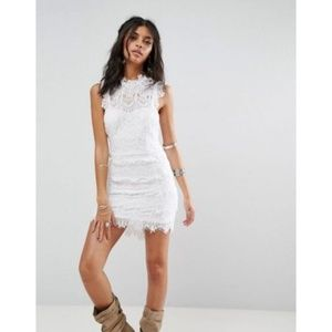 Free People White Lace Cap Sleeve Hi Neck Dress M